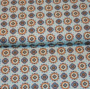Cotton Satin Spandex - Figures blue